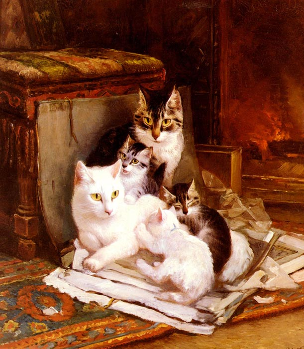 Oil Painting Reproduction of Ronner-Knip- The Happy Litter