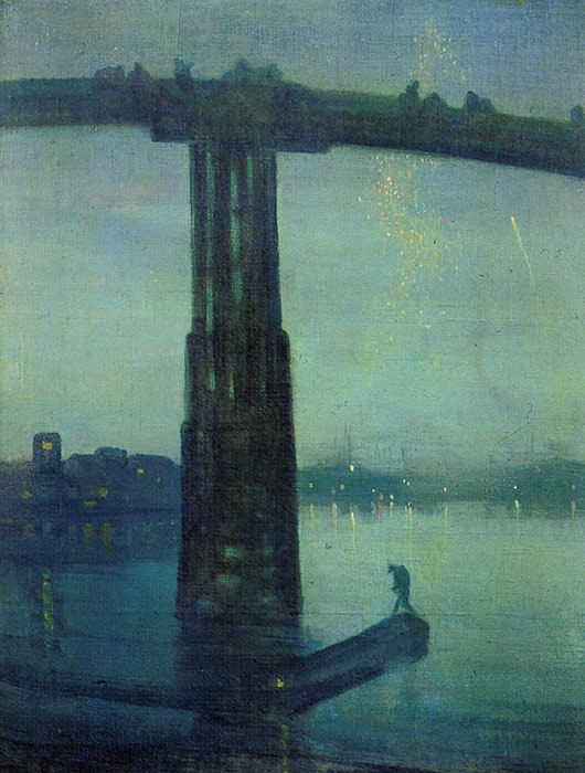 Whistler Oil Painting Reproductions- Nocturne in blue and green