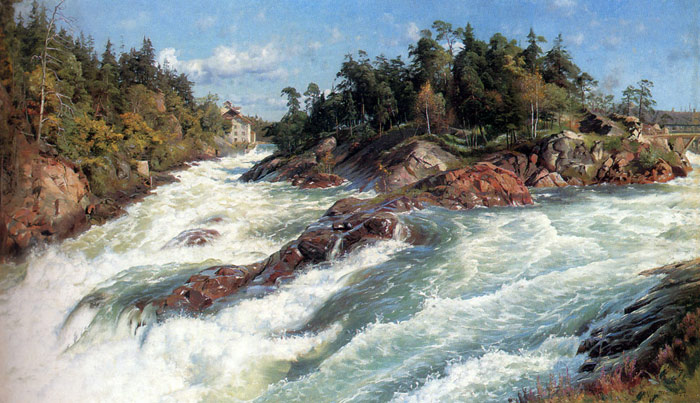 Oil Painting Reproduction of Monsted- The Raging Rapids