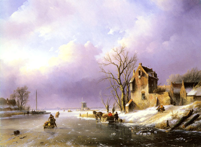 Spohler Oil Painting Reproductions - Winter Landscape with Figures on a Frozen River