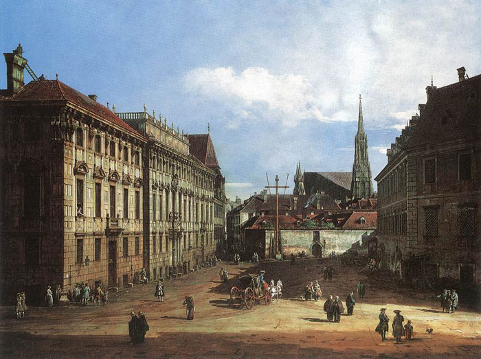 Oil Painting Reproduction of Bellotto - Vienna, the Lobkowitzplatz