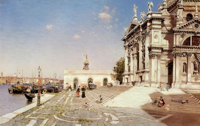 Martin Rico y Ortega Oil Painting Reproductions- A View of Santa Maria della Salute, Venice
