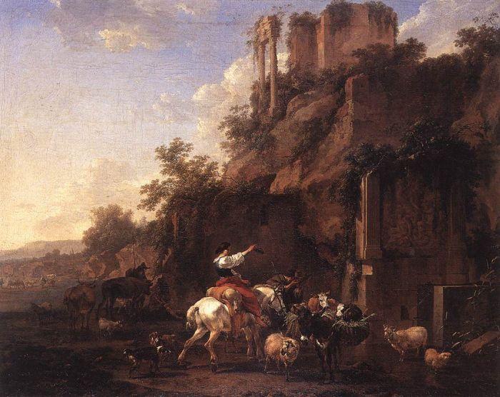 Berchem Reproductions - Rocky Landscape with Antique Ruins