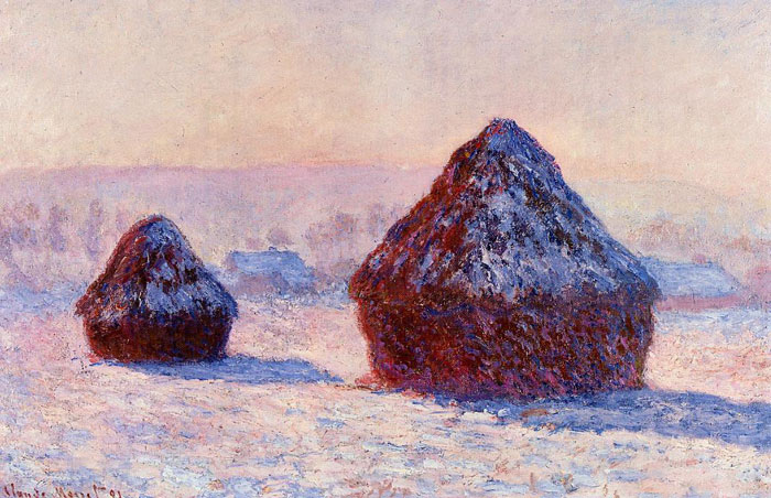 Monet Oil Painting Reproductions - Grainstacks in the Morning, Snow Effect