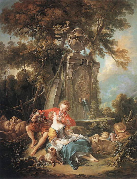 Oil Painting Reproduction of Boucher- An Autumn Pastoral