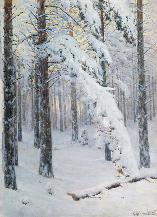 Oil Painting Reproduction of Kryzhitskii - Winter Forest