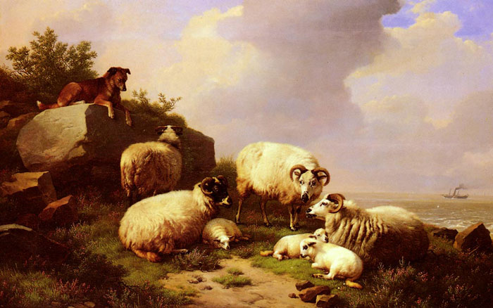Verboeckhoven Oil Painting Reproduction- Guarding The Flock By The Coast