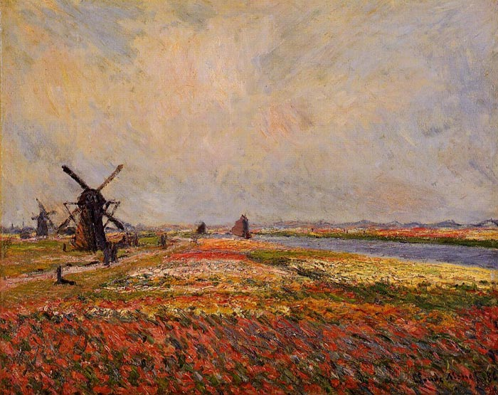 Oil Painting Reproduction of Monet- Fields of Flowers and Windmills near Leiden