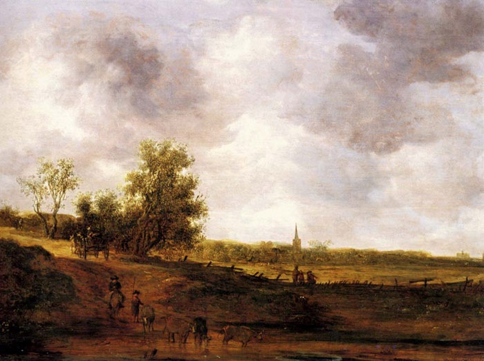 Oil Painting Reproduction of van Goyen - A rural landscape with peasants and a drover by a track