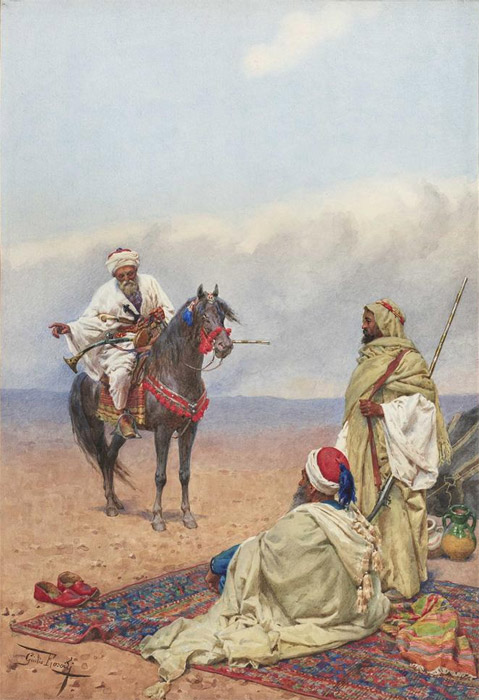 Oil Painting Reproduction of Rosati - A Horseman stopping at a Bedouin camp