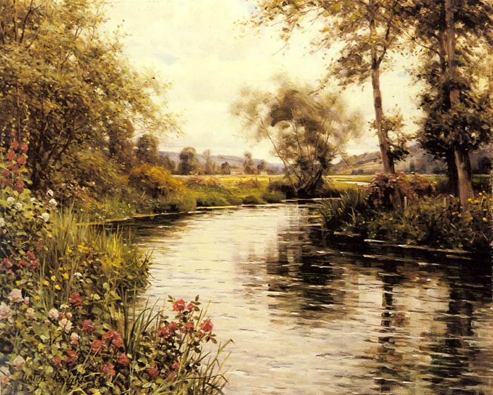 Knight Oil Painting Reproductions - Flowers in Bloom by a River