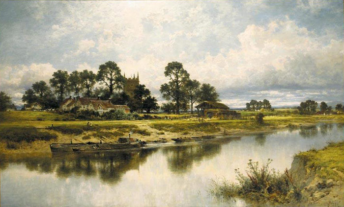 Oil Painting Reproduction of Leader- Severn Side, Sabrinas Stream at Kempsey on the River Severn