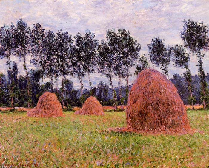 Oil Painting Reproduction of Monet- Haystacks, Overcast Day