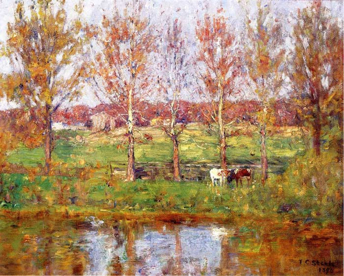 Steele Oil Painting Reproductions - Cows by the Stream