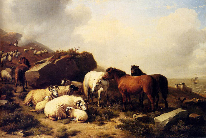 Verboeckhoven Oil Painting Reproduction - Sheep Grazing By The Coast