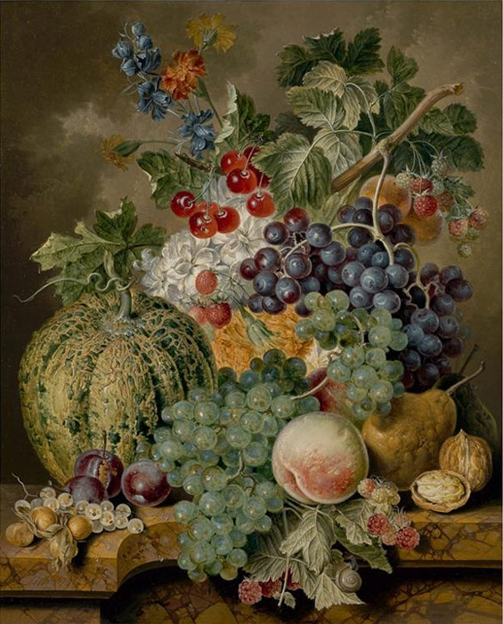 Oil Painting Reproduction of Linthorst - Still life of a melon, white and black grapes