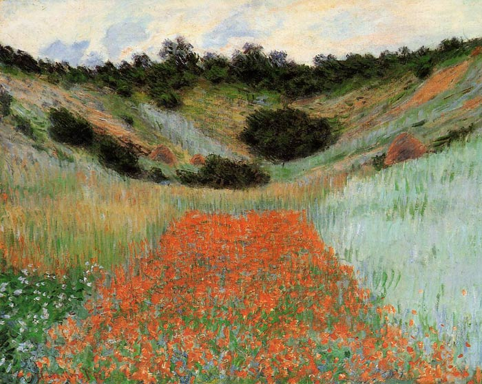 Oil Painting Reproduction of Monet- Poppy Field in a Hollow near Giverny