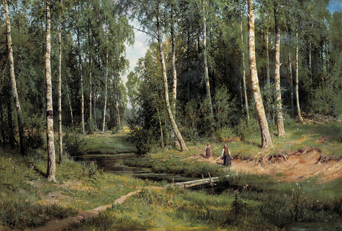 Oil Painting Reproduction of Shishkin - River in a Birch Forest