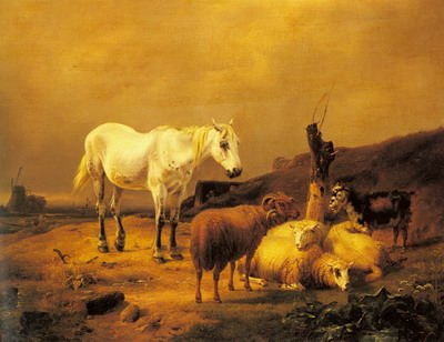 A Horse, Sheep And Goat In A Landscape