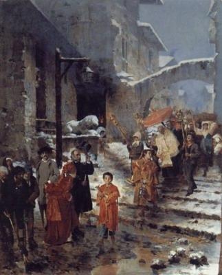 A Religious Procession in Winter