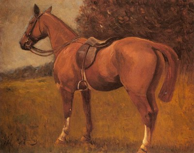 A Saddled Hunter In A Landscape