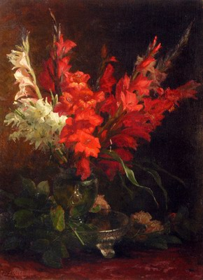 A Still Life With Gladioli And Roses