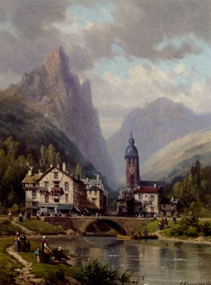 An Angler Before An Alpine Riverside Town