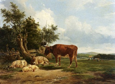 An Extensive Landscape With Cattle Resting