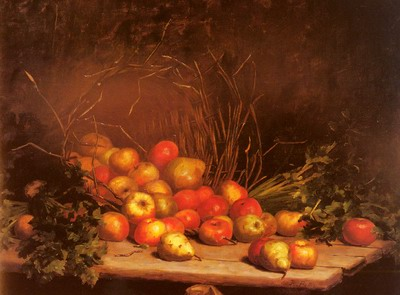An Overturned Basket Of Fruit And Vegatables