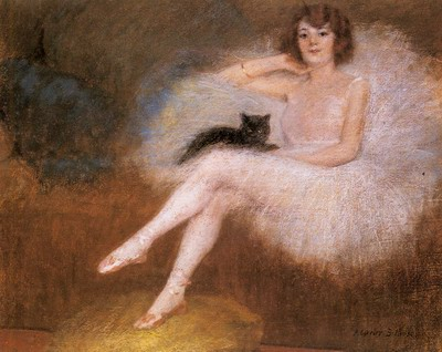 Ballerina With A Black Cat