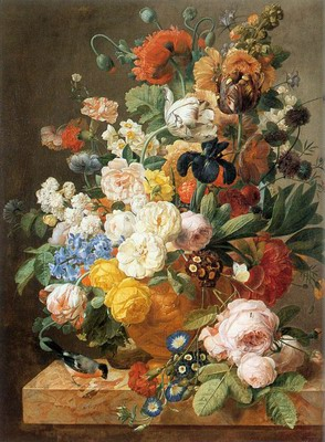 Bouquet Of Flowers In A Sculpted Vase