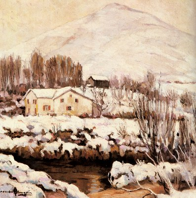Cottages In A Snowy Landscape