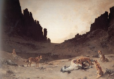 Dogs of the Douar Devuring a Dead Horse in the gorges of el kantar