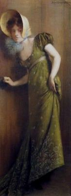 Elegant Woman In A Green Dress