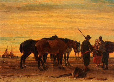 Fishermen With Their Horses On The Beach