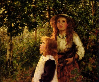 Girls Gathering Firewood