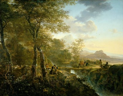 Italian landscape with artist