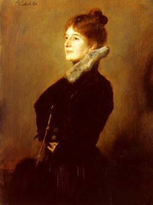 Portrait Of A Lady Wearing A Black Coat With Fur Collar