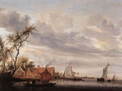 River Scene with Farmstead