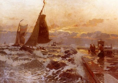 Sailing Ships Returning In Heavy Seas