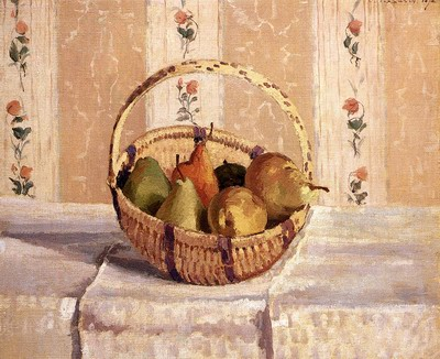 Still Life, Apples And Pears In A Round Basket