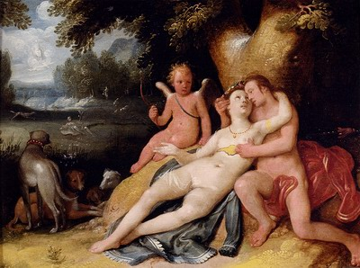 Venis And Adonis With Cupid In A Landscape