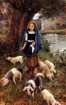 Woman Herding Pigs