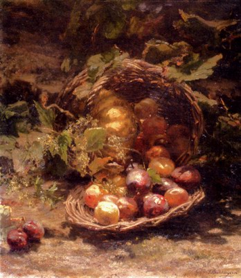 A Wicker Basket Of Plums Apricots And A Pumpkin