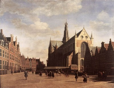 The Market Square At Haarlem With The St Bavo