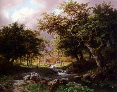 A Wooded Landscape With Figures Along A Stream