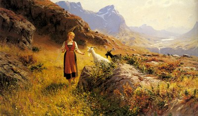 An Alpine Landscape With A Shepherdess And Goals