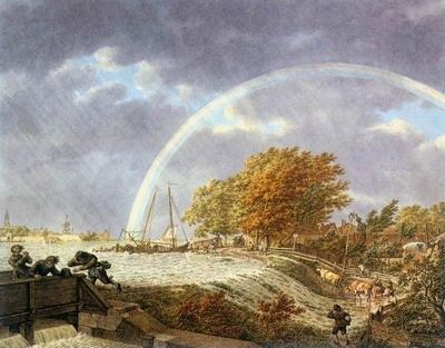 Autumn Landscape With Rainbow