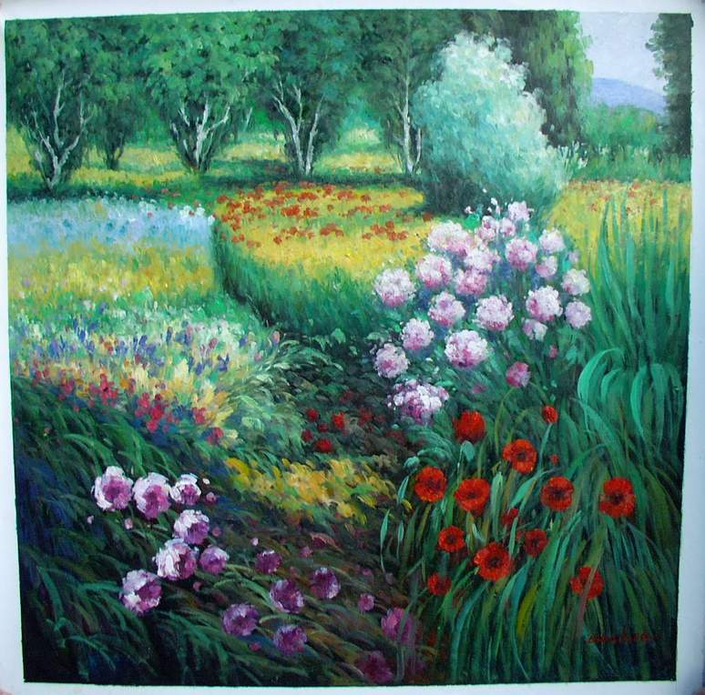 Flower Garden Oil Painting Oil Painting In A Garden Garden Oil Painting