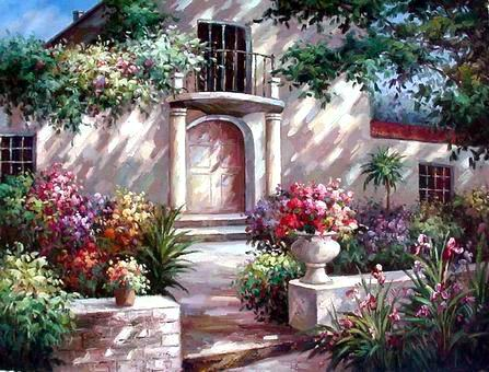 oil paintings of flower gardens Oil Painting Reproductions Garden oil painting